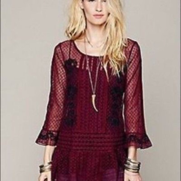 29a78ab130b Free People Tops - FREE PEOPLE Jocelyn Embroidered Top burgundy